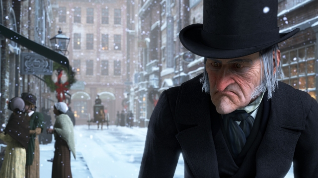 Jim Carrey as Ebeneezer Scrooge outside his counting house on Cornhill, London